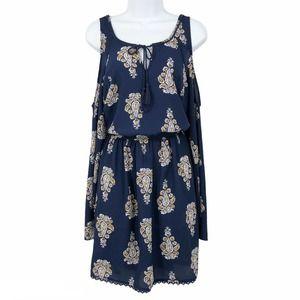 Xhilaration Cold Shoulder Dress Paisley Print Blue